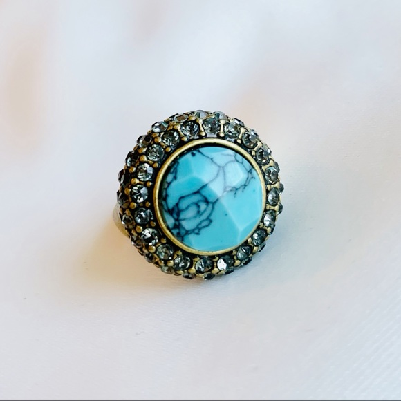 Chloe + Isabel Jewelry - Chloe + Isabel Retro Pavé Cocktail Ring Turquoise